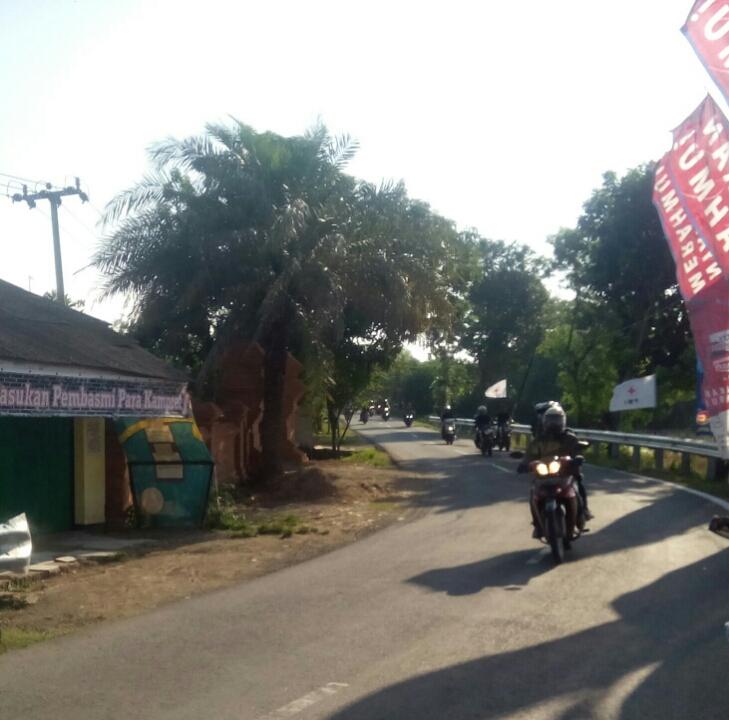 Pemudik yang melintas di jalan Cilamaya Wetan, Karawang. Foto: Nj